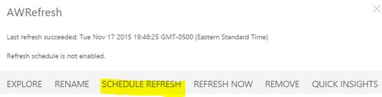 Power BI Schedule Refresh