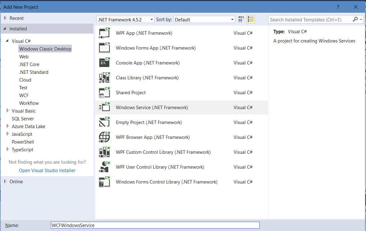 Select Windows Service: