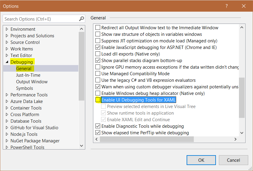 WPF - Disable Visual Studio UI Debugging - Carl de Souza