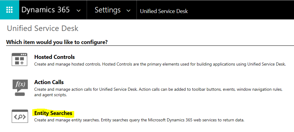 In The USD Configuration Page In Dynamics 365, Click On Entity Searches: