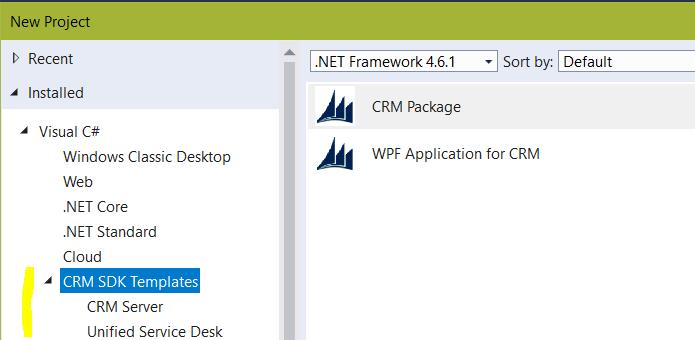 Installing Dynamics 365 Templates on Visual Studio 2017