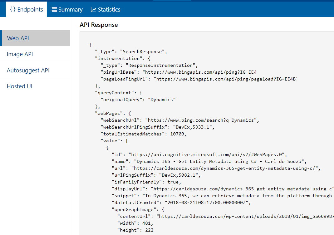 Creating a Bing Custom Search Instance with Keys for Bing
