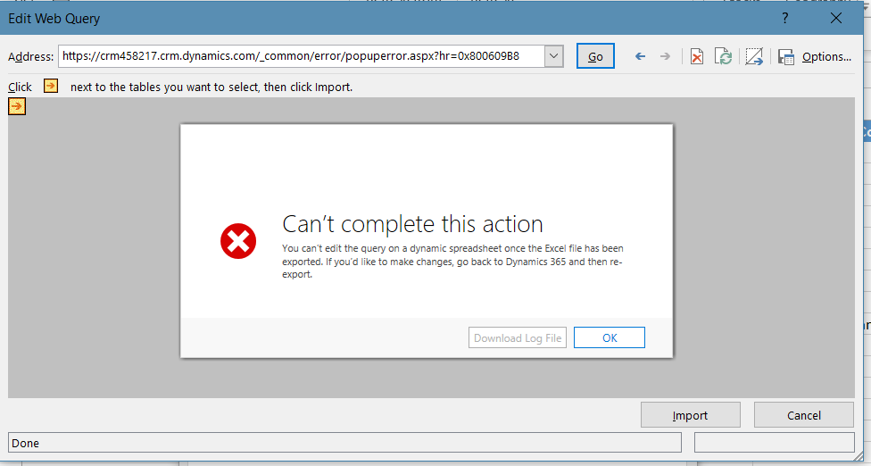 Error Connecting to Dynamics 365 from Excel, Cannot Download